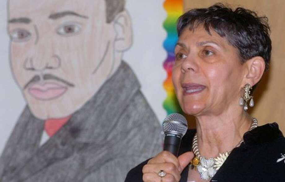 hoto/Alex von Kleydorff. West Rocks Middle School Principal Dr. Lynne Moore speaks during MLK day at the school.