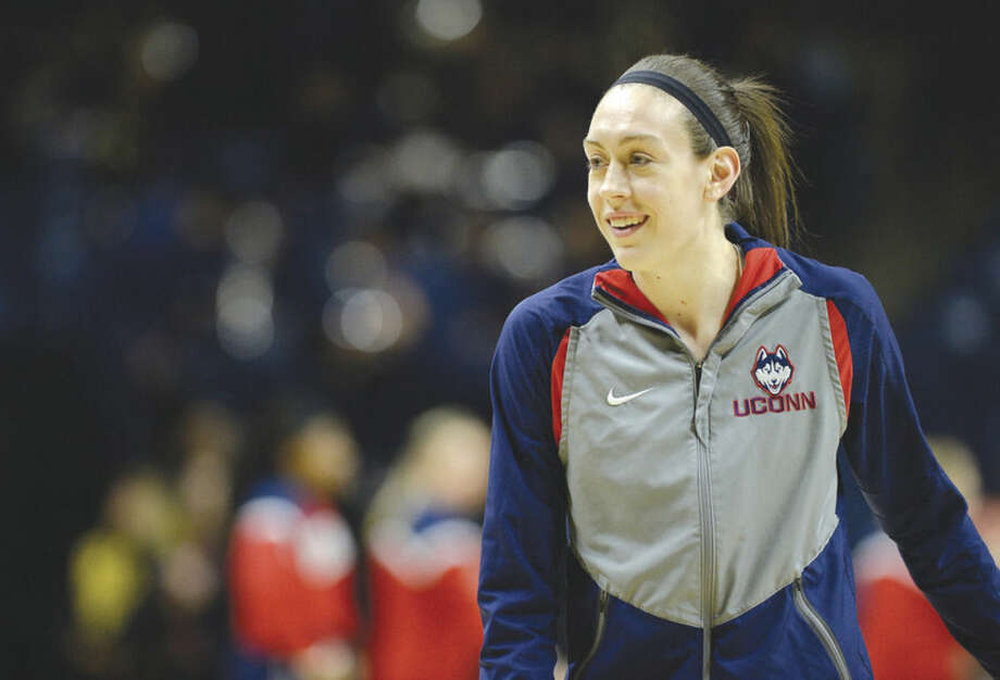 Connecticut's Breanna Stewart during warmups before a second round women's college basketball game against Duquesne in the NCAA Tournament, Monday, March 21, 2016, in Storrs, Conn. (AP Photo/Jessica Hill)