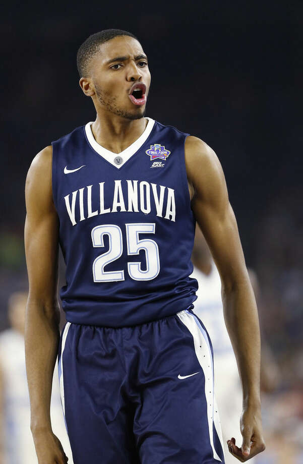 Villanova guard Mikal Bridges (25) reacts to play against North Carolina during the second half of the NCAA Final Four tournament college basketball championship game Monday, April 4, 2016, in Houston. (AP Photo/Eric Gay)