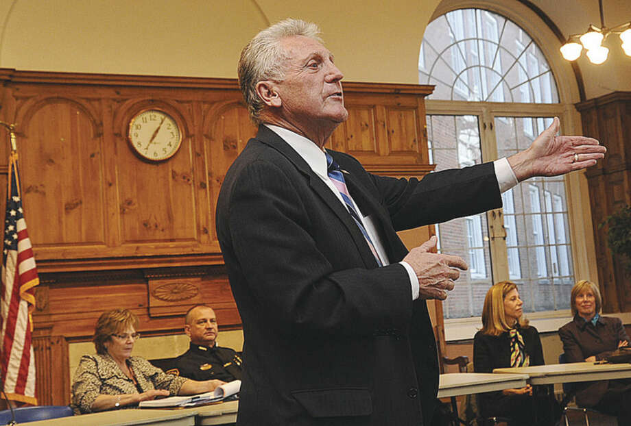 Hour photo/Matthew VinciMayor Harry W. Rilling speaks during his Mayor's Night Out in Norwalk City Hall's Community Room Tuesday.