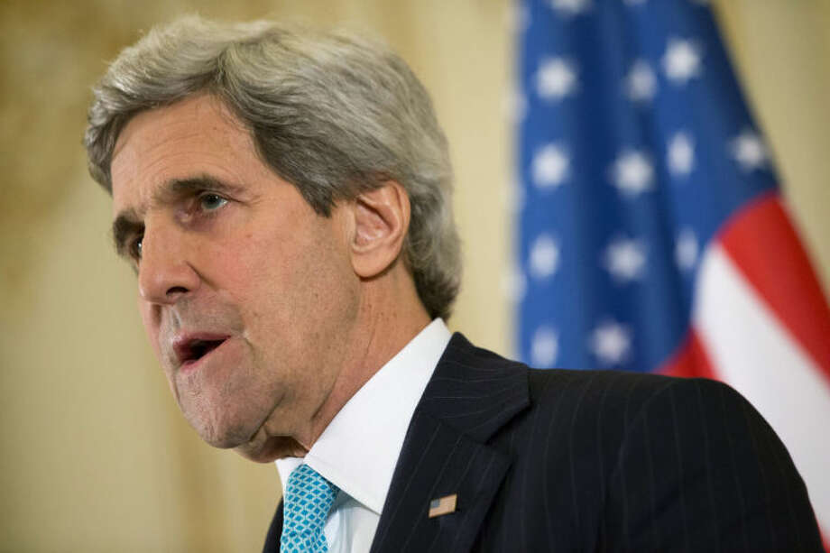U.S. Secretary of State John Kerry speaks during a news conference at the U.S. Ambassador to France's residence in Paris, Sunday, March 30, 2014, after meeting with Russian Foreign Minister Sergey Lavrov about the situation in Ukraine. (AP Photo/Jacquelyn Martin, Pool)