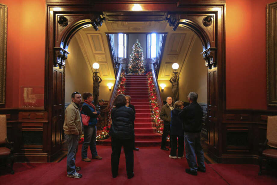 Hour photo / Chris PalermoAt the museum's Grand Display of Holiday Traditions: Victorian Era Presents and Decorations.