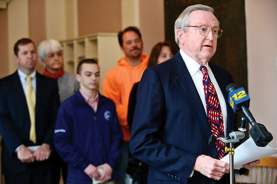 Hour photo / Erik Trautmann First Selectman Bill Brennan speaks during a Wilton Go Green press conference at Wilton Town Hall Wednesday.