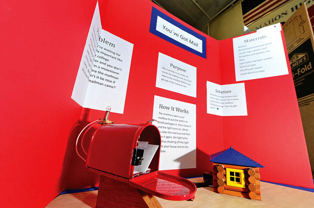 """Hour photo / Erik Trautmann """"You've Got Mail"""" by Wolfpit Elementary School student Ryan Mount was one of 400 science projects from students in grade K-12 have were on display at Brien McMahon High School for the Norwalk Public Schools District-Wide Science Fair."""