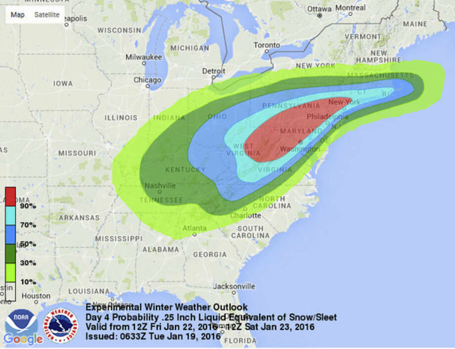 This image provided by National Oceanic and Atmospheric Administration's (NOAA) National Weather Service Weather Prediction Center shows an early computer model forecasting the chances of a windy, strong sleet-snow storm hitting the East Coast this weekend, Jan. 22-23, 2016. Meteorologists say tens of millions of Americans from Washington to Boston and the Ohio Valley could be walloped by an end-of-the-week snowstorm. (National Oceanic and Atmospheric Administration via AP)