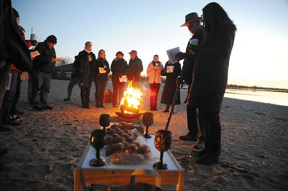 The Ecumenical Sunrise Service on Easter Sunday at Compo Beach in Westport. Hour photo/Matthew Vinci