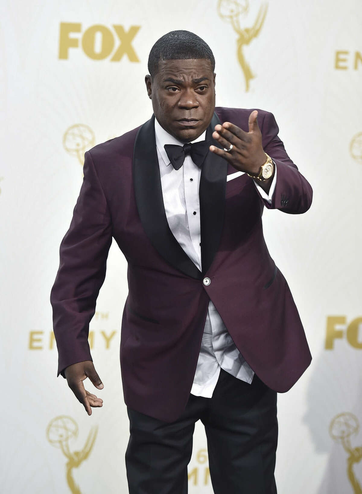 FILE - In this Sept. 20, 2015, file photo, Tracy Morgan poses in the press room at the 67th Primetime Emmy Awards in Los Angeles. Morgan will officially launch his