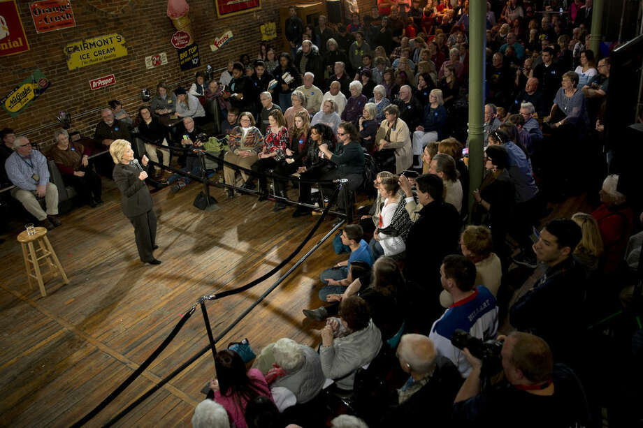 Democratic presidential candidate Hillary Clinton speaks during a campaign event at the Smokey Row, Monday, Jan. 25, 2016, in Oskaloosa, Iowa. (AP Photo/Mary Altaffer)