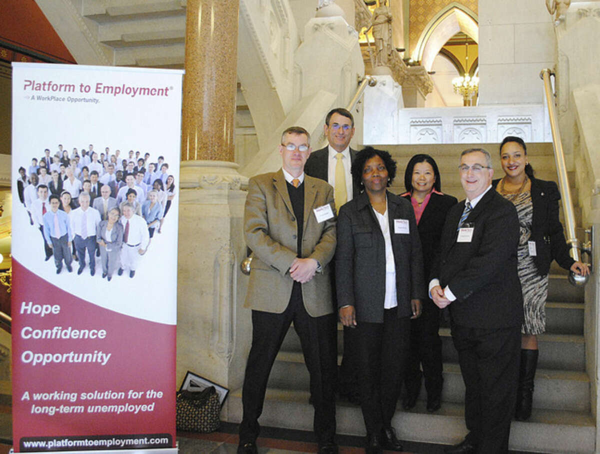 Contributed photo Some of the southwestern Connecticut graduates and staff of the Platform to Employment at the Capitol in Hartford.Front Row (l to r) Marc Fischer of Westport; Regina Bryan of Norwalk; and Joseph Favano of Norwalk. Back Row (l to r): Joel Zaremby, employer relations specialist for The WorkPlace; Angel Chan of Norwalk; and Tanya Rosario, career coach for The WorkPlace.