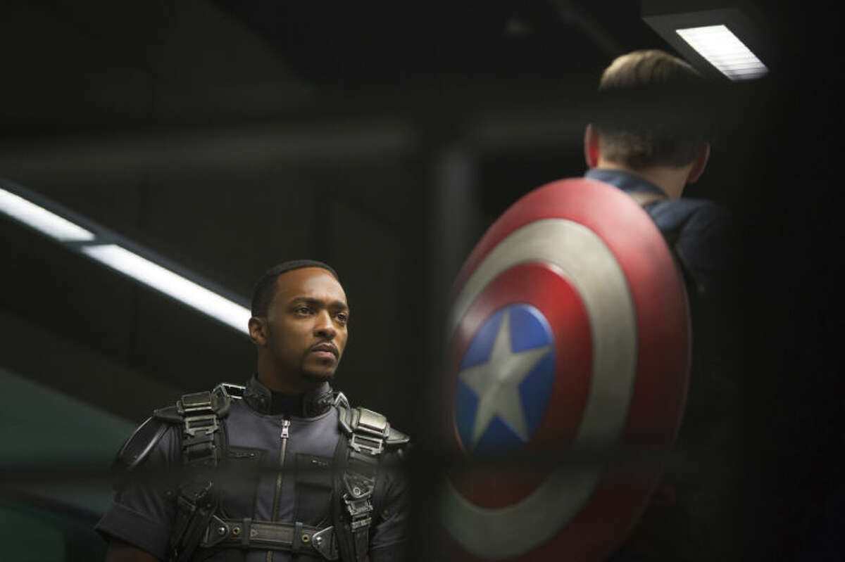 This image released by Marvel shows Anthony Mackie in a scene from