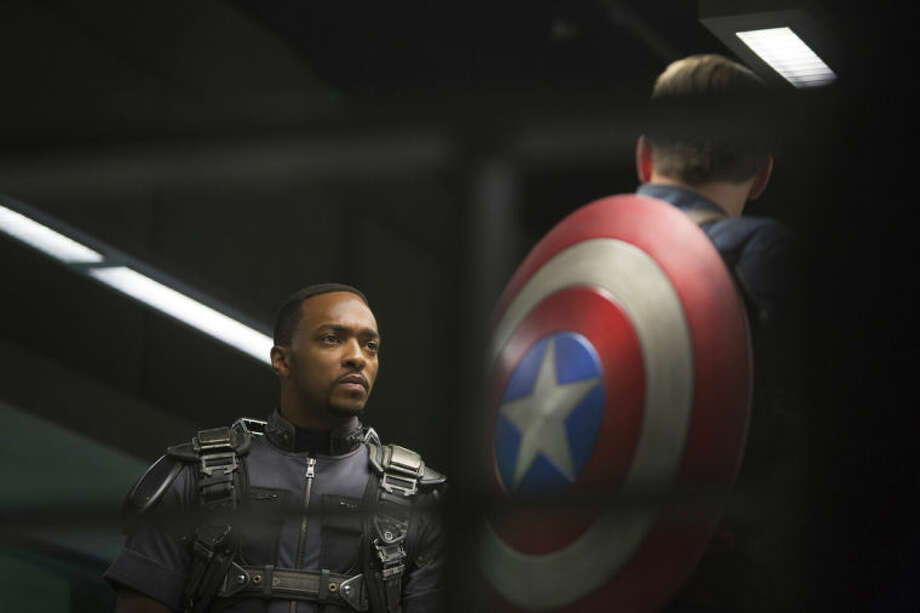 """This image released by Marvel shows Anthony Mackie in a scene from """"Captain America: The Winter Soldier."""" (AP Photo/Marvel-Disney)"""