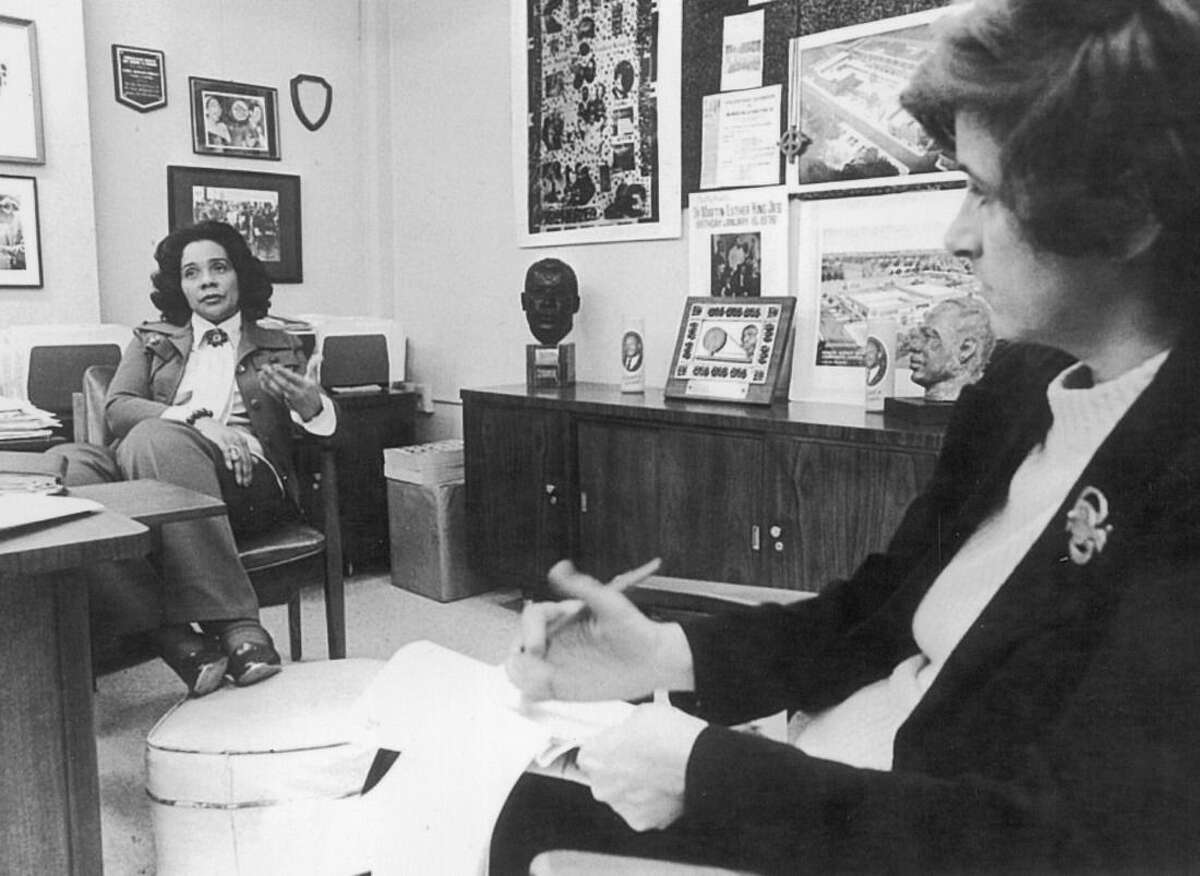 """ADVANCE FOR USE SUNDAY, JAN. 17, 2015 AND THEREAFTER - In this 1968 photo, AP reporter Kathryn Johnson, right, interviews Coretta Scott King in her office in Atlanta. In a new memoir, """"My Life with the Kings: A Reporter's Recollections of Martin, Coretta and the Civil Rights Movement,"""" retired Associated Press reporter Kathryn Johnson describes many civil rights flashpoints that she covered in the 1960s, and details her close relationship with the movement's leader, the Rev. Martin Luther King Jr., and his family. (AP Photo)"""