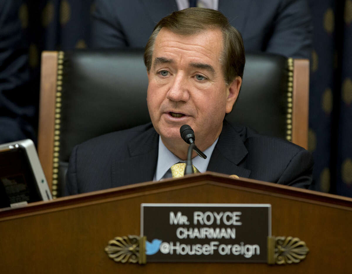 """FILE - In this Sept. 18, 2014 file photo, House Foreign Affairs Committee Chairman Ed Royce, R-Calif. speaks on Capitol Hill in Washington. A bill now making its way through the U.S. Congress, and being watched closely in Pyongyang, is designed to shut off North Korea, and anyone who deals with it, from the U.S. dollar, the world's most important currency. Royce said after the act was introduced in February and updated after the massive cyberattack on Sony Entertainment, would """"step up the targeting of those financial institutions in Asia and beyond that are supporting this brutal and dangerous regime."""" (AP Photo/Carolyn Kaster, File)"""