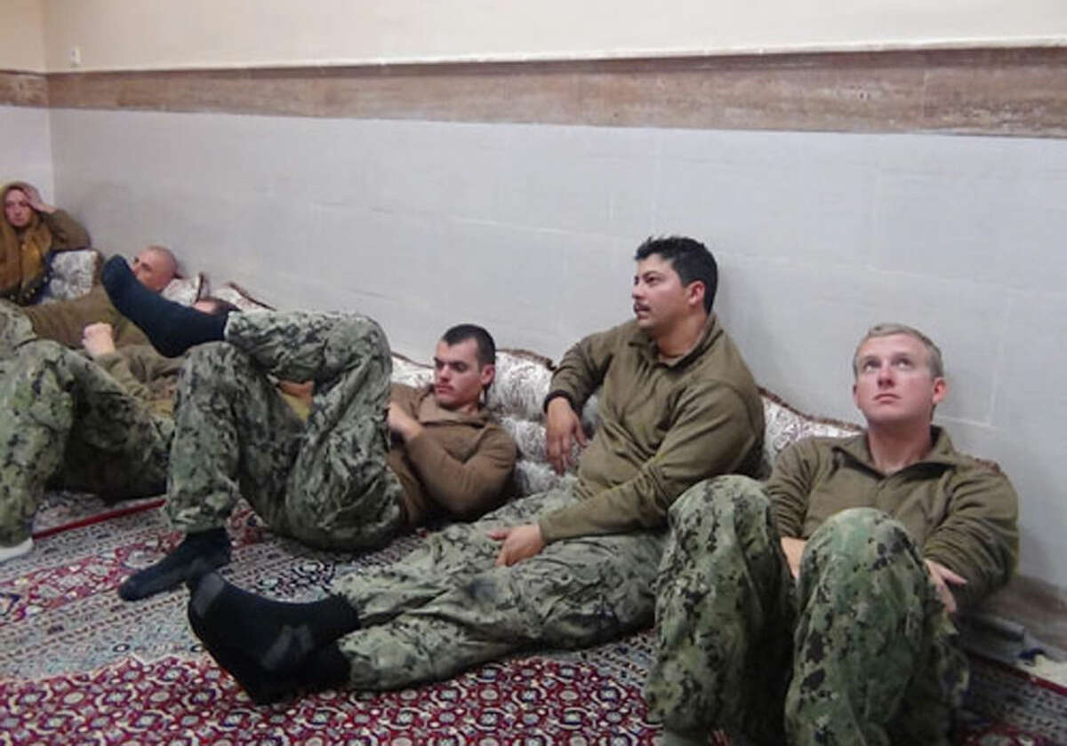 Sepahnews via AP This picture released by the Iranian Revolutionary Guards on Wednesday, Jan. 13, shows detained American Navy sailors in an undisclosed location in Iran.