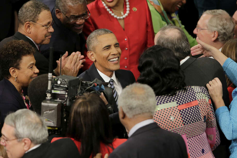 President Barack Obama arrives on Capitol Hill in Washington, Tuesday, Jan. 12, 2016, to give his State of the Union address before a joint session of Congress. (AP Photo/J. Scott Applewhite)