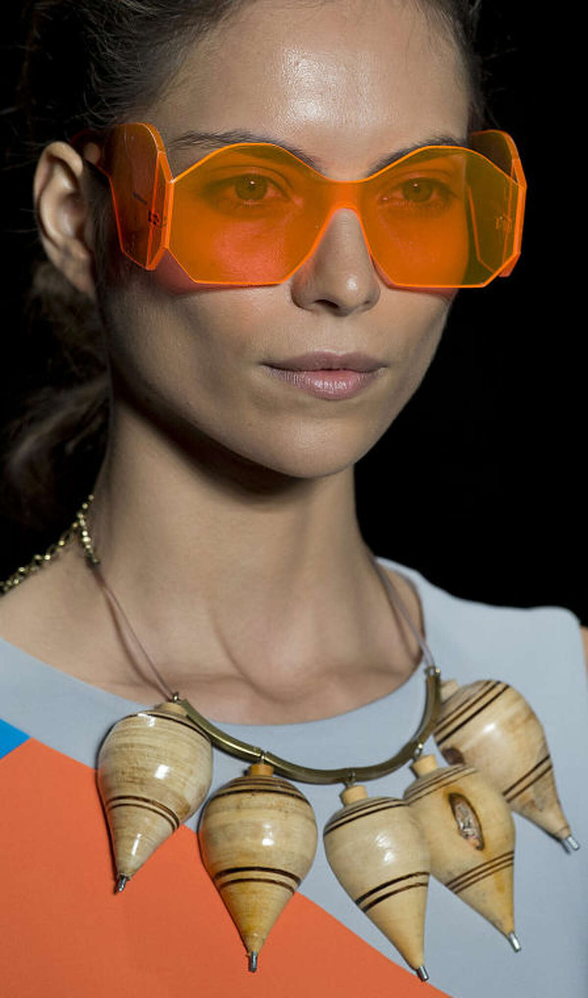 A model wears a creation from the Ronaldo Fraga Summer collection during Sao Paulo Fashion Week in Sao Paulo, Brazil, Wednesday, April 2, 2014. (AP Photo/Andre Penner)