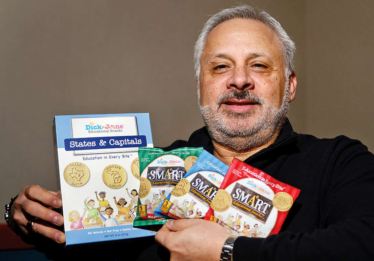 Hour photo / Erik Trautmann Local resident Jon Rothenberg launches a new business, Dick and Jane Educational Snacks.