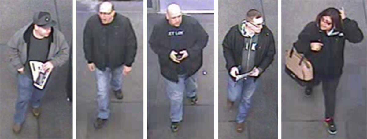 Contributed photos These photos taken from surveillance footage at Best Buy in Norwalk show five larceny suspects. Norwalk police are looking for the suspects in connection to thefts that occurred at the retail store in March.