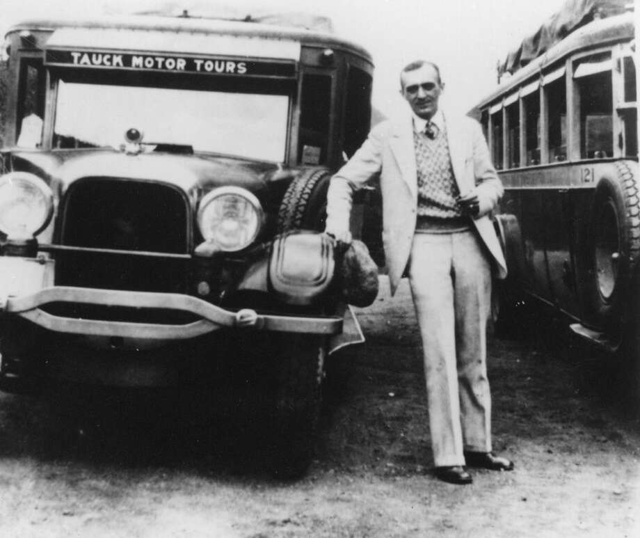Contributed photo Arthur Tauck Sr. with a motorcoach in the 1920s.