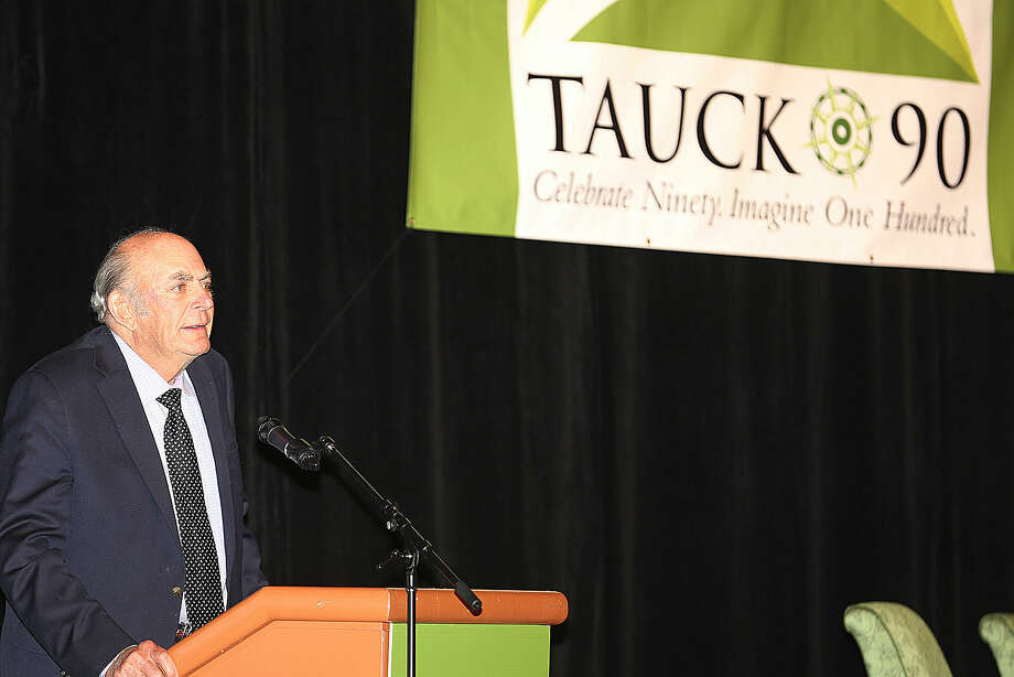 Contributed photo Arthur Tauck speaks during a 90-year celebration for the company in Colorado this year.