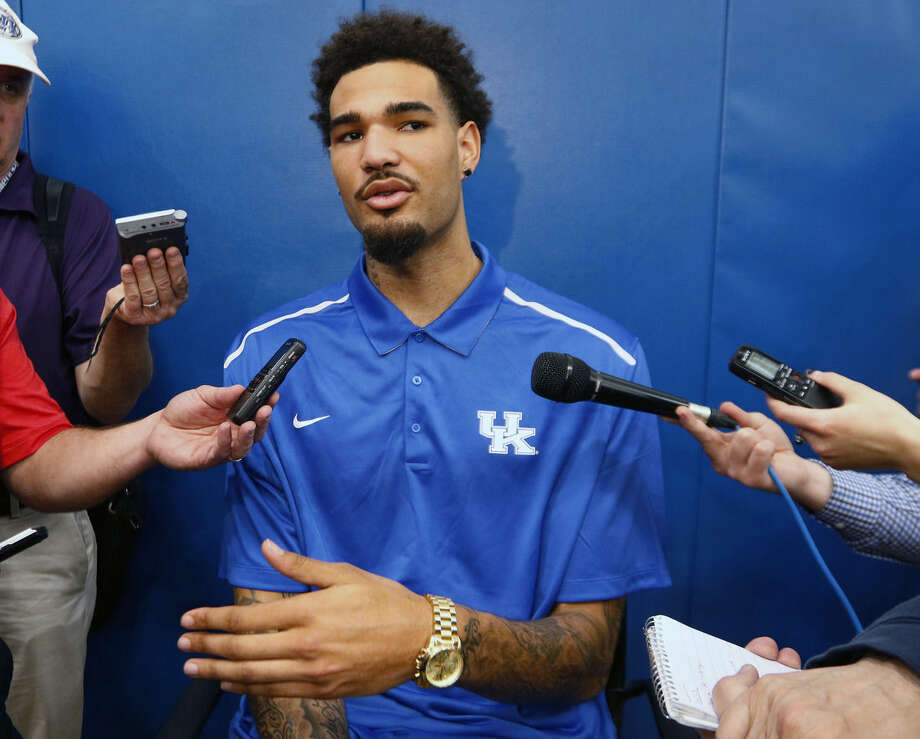 Kentucky NCAA college basketball player Willie Cauley-Stein speaks to reporters after announcing his intent to place his name in the NBA draft during a news conference at the Joe Craft Center, Thursday, April 9, 2015, in Lexington, Ky. (AP Photo/James Crisp)