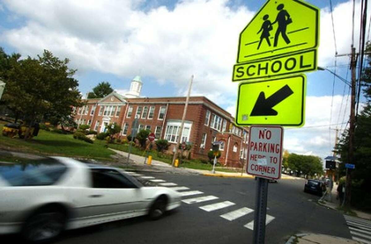 Photo/Alex von Kleydorff. School crossing in front of Columbus Magnet school in Norwalk.