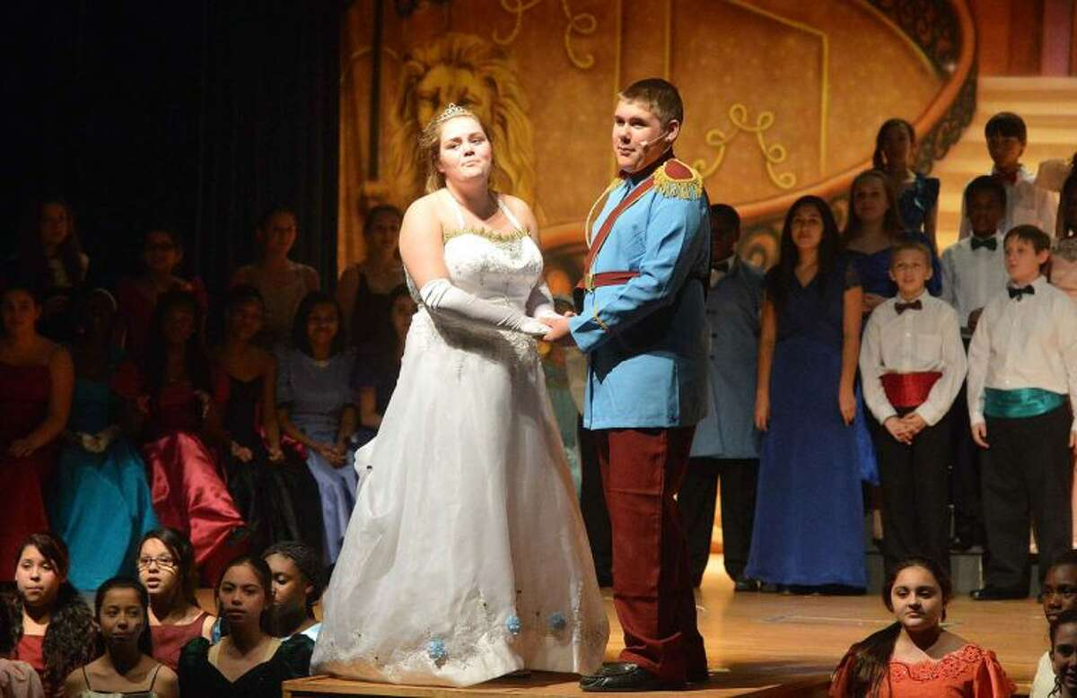 Hour Photo/Alex von Kleydorff Anna Breault as Cinderella and Tommy Knowles as Prince Charming in the West Rocks School production of Cinderella
