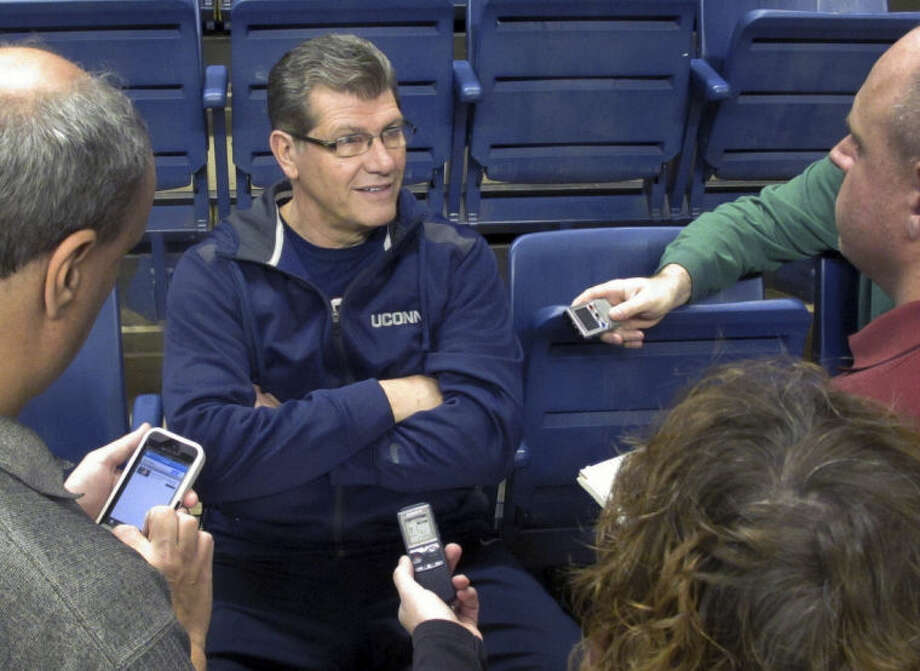 Connecticut women's basketball coach Geno Auriemma answers a reporter's question Thursday, April 3, 2012 in Storrs, Conn., after the team's final practice before leaving for the NCAA Women's Final Four in Nashville. (AP Photo/Pat Eaton-Robb)