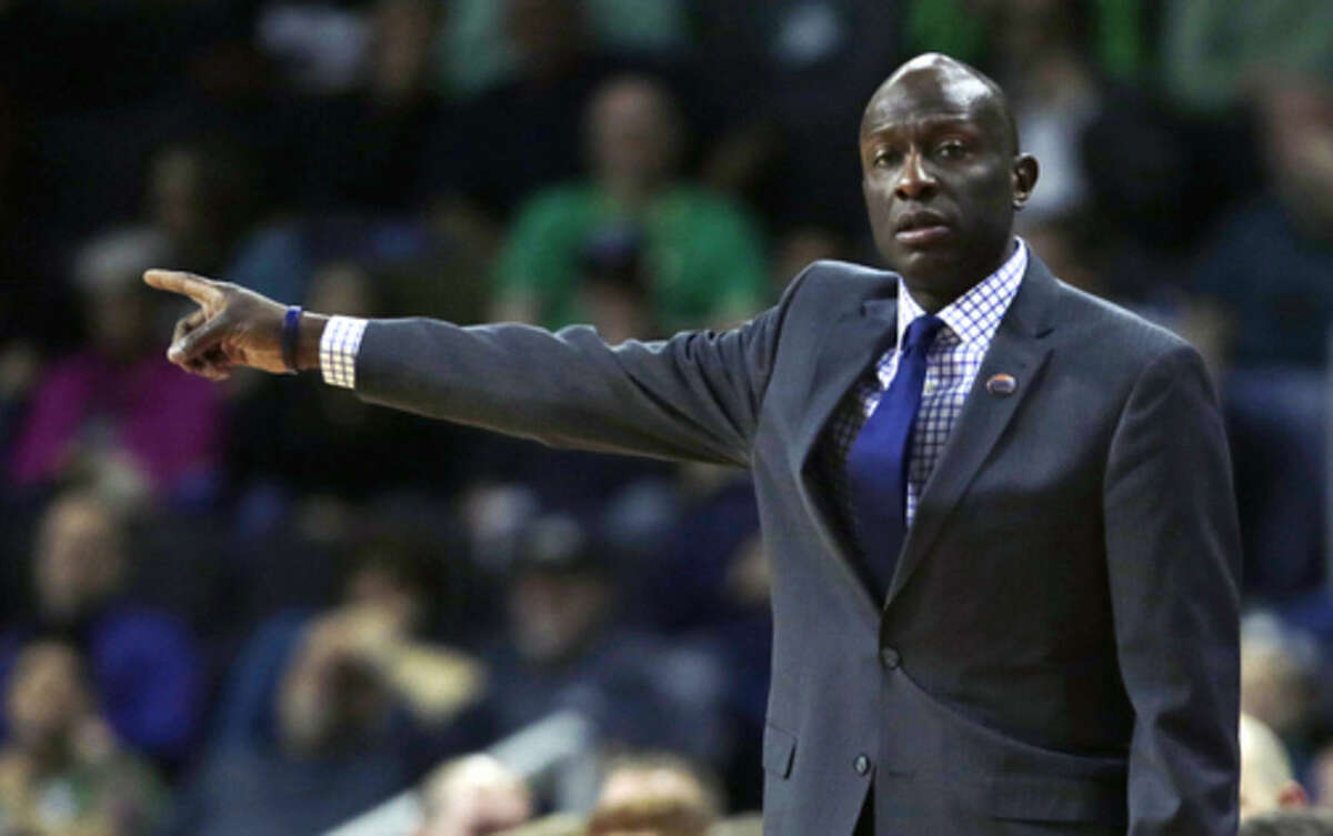 Yale head coach James Jones points down court in the first half against Baylor during the first round of the NCAA college men's basketball tournament in Providence, R.I., Thursday, March 17, 2016. (AP Photo/Charles Krupa)