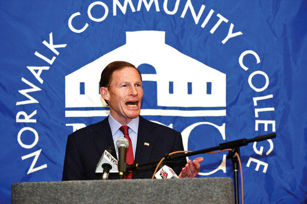 Hour photo / Erik Trautmann US Senator Richard Blumenthal comments on the new educational initiative involving Norwalk Community College and Norwalk Public Schools the CT Governor Malloy announced at the college Friday. The Pathways in Technology Early College High School (P-TECH) intiative enables students to graduate with both a high school diploma and an Associates in Applied Science degree through the college's Norwalk Early College Academy.