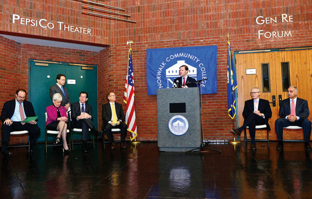 Hour photo / Erik Trautmann CT US Senator Richard Blumenthal comments on the new educational initiative involving Norwalk Community College and Norwalk Public Schools the CT Governor Malloy announced at the college Friday. The Pathways in Technology Early College High School (P-TECH) intiative enables students to graduate with both a high school diploma and an Associates in Applied Science degree through the college's Norwalk Early College Academy.