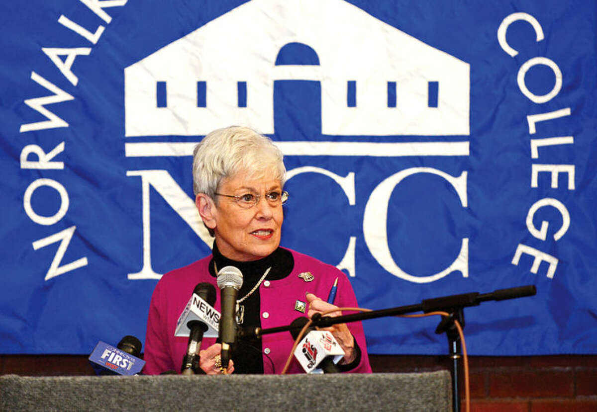 Hour photo / Erik Trautmann CT Lt. Governor Nancy Wyman introduces Governor Dannel Malloy who announced a new educational initiative involving Norwalk Community College and Norwalk Public Schools at the college Friday. The Pathways in Technology Early College High School (P-TECH) intiative enables students to graduate with both a high school diploma and an Associates in Applied Science degree through the college's Norwalk Early College Academy.