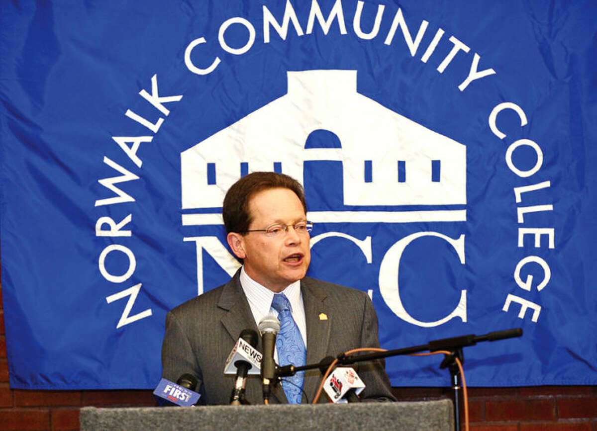 Hour photo / Erik Trautmann Norwalk Community College president Dr. David Levinson hosts an event where CT Governor Dannel Malloy announced an intitaive involving and Norwalk Public Schools at the college Friday. The Pathways in Technology Early College High School (P-TECH) intiative enables students to graduate with both a high school diploma and an Associates in Applied Science degree through the college's Norwalk Early College Academy.