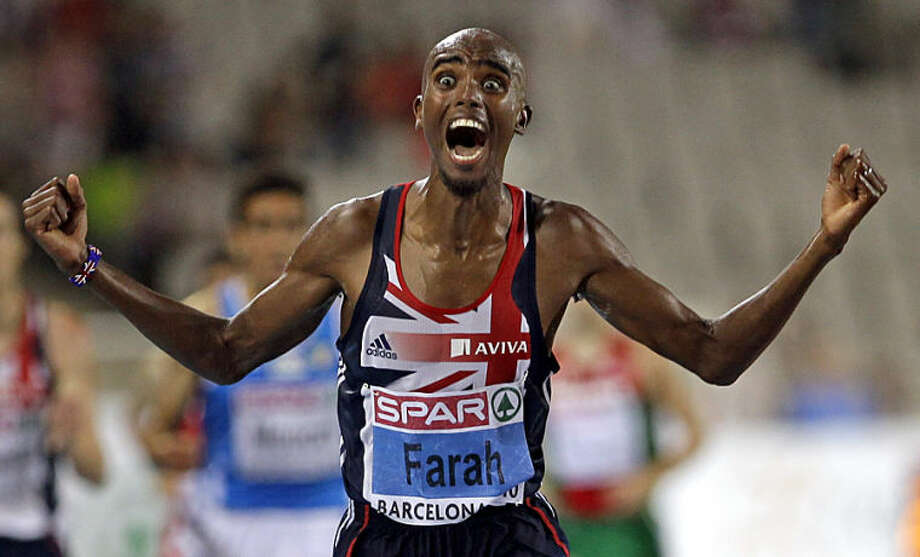 "FILE - In this Tuesday, July 27, 2010 file photo, Britain's Mo Farah celebrates as he crosses the finish line to win the Men's 10000m event, during the European Athletics Championships, in Barcelona, Spain. Anja Niedringhaus, a courageous and immensely talented Associated Press photographer who has covered everything from sports to war, was killed while covering elections in Afghanistan on Friday April 4, 2014. Niedringhaus was in a car in eastern Afghanistan with AP reporter Kathy Gannon when, according to a freelancer who was with them, an Afghan policeman approached them, yelled ""Allahu Akbar"" - God is Great -and opened fire on them in the back seat with his AK-47. Niedringhaus was killed instantly and Gannon was wounded. (AP Photo/Anja Niedringhaus, File)"