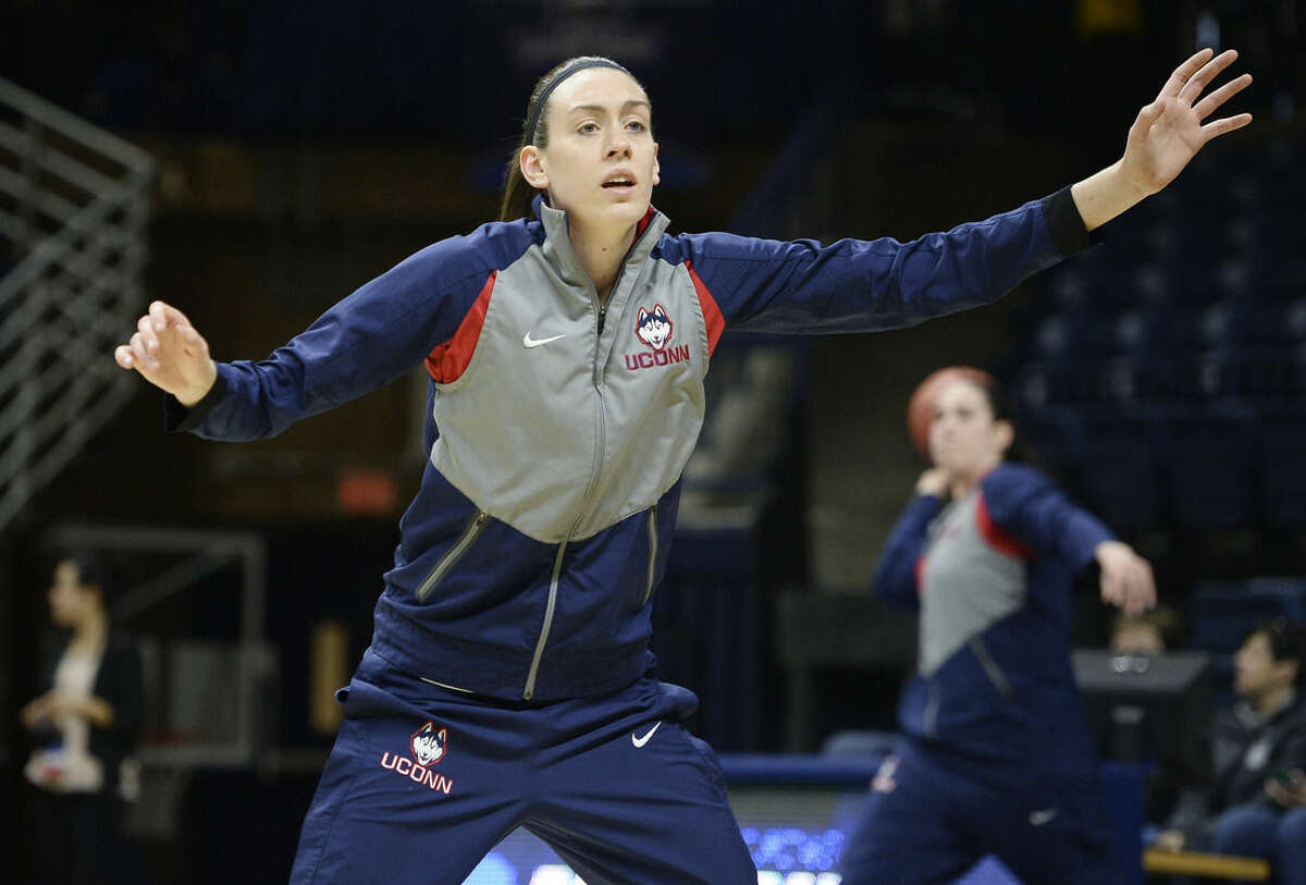 Connecticut's Breanna Stewart warms up before a first round women's college basketball game against Robert Morris in the NCAA Tournament, Saturday, March 19, 2016, in Storrs, Conn. (AP Photo/Jessica Hill)