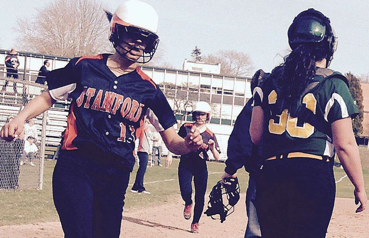 Stamford High School, Brianna Arias Arias and #8 Gloria Mattioli both scoring vs. Trinity Catholic on Monday. Photo/Matthew Vinci
