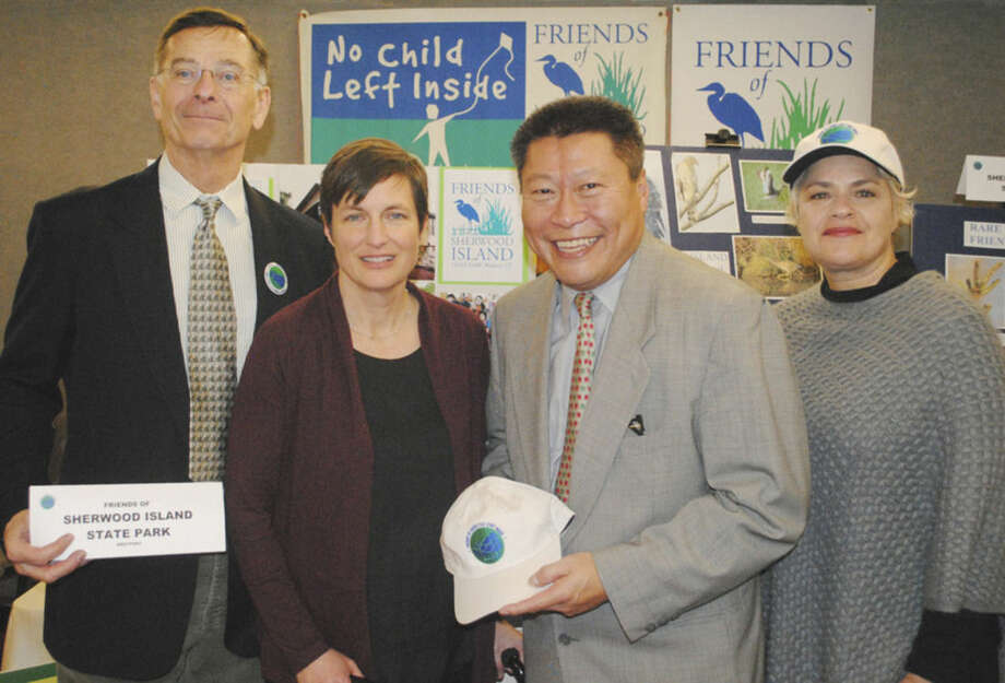 Contributed photoFriends of Sherwood Island Board Member Louis Pietig, Friends of Sherwood Island Board Member Erica Caldwell, Sen. Tony Hwang, and Friends of Sherwood Island Board Member Nancy Ferriello .
