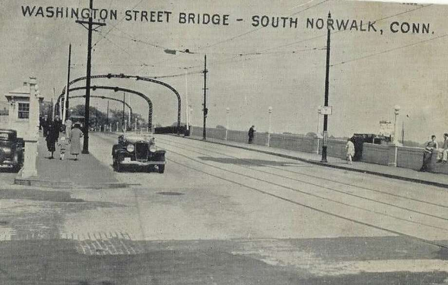 Cars Crossing Washington Street Bridge At South Norwalk Connectucut 1940s PC