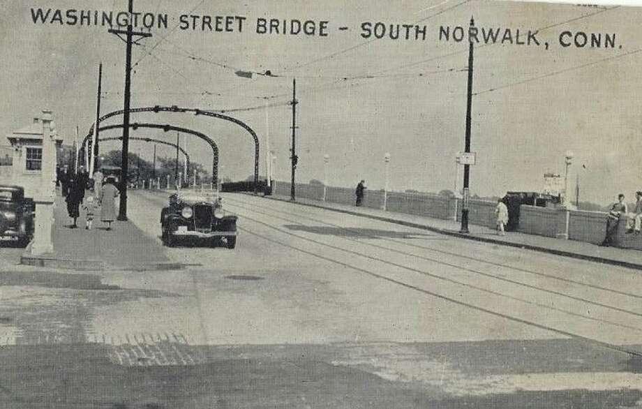 Cars Crossing Washington Street Bridge At South Norwalk Connectucut 1940s PC