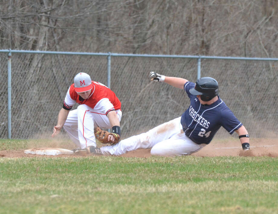 Staples defeated Masuk, 10-7, on April 14, 2015. (Pete Paguaga/Hour photo)