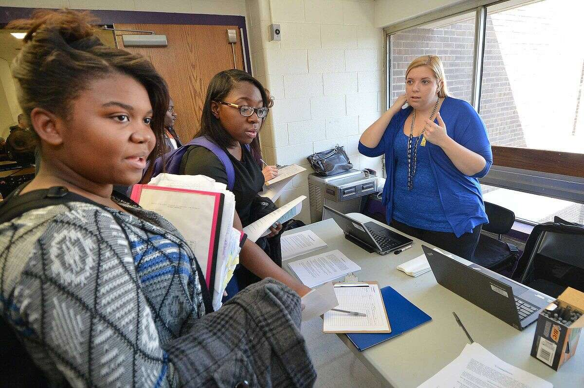 Westhill High School sophmore Lise Baptiste signs up to be a candidate during an open casting call to be included in the 2015-2016 College Board brochures.