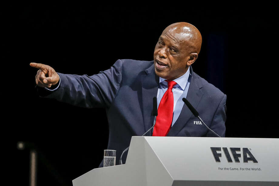 FIFA presidential candidate Tokyo Sexwale, of South Africa, delivers a speech during the Extraordinary FIFA Congress 2016 in Zurich, Switzerland, Friday, Feb. 26, 2016. The Extraordinary FIFA Congress is being held in order to vote on the proposals for amendments to the FIFA Statutes and choose the new FIFA President. (Patrick B. Kraemer/Keystone via AP)
