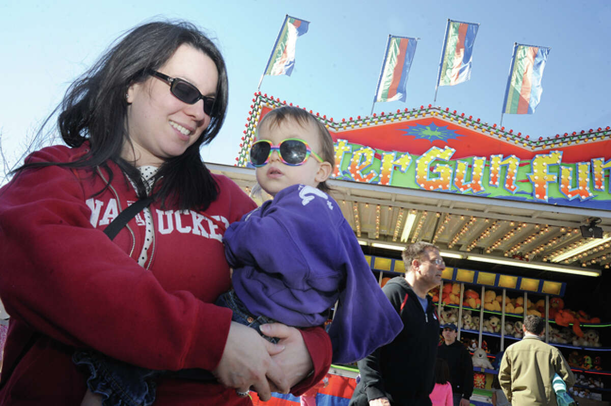 """Melissa Rotini-Cole with her 23 month old daughter Giovanna at Miller-Driscoll School's first Annual ?'Spring Spectacular Carnival?"""" photo/Matthew Vinci"""
