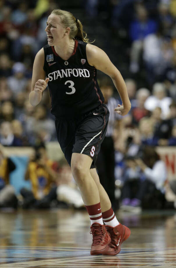 Stanford forward Mikaela Ruef (3) celebrates a basket against Connecticut during the first half of the semifinal game in the Final Four of the NCAA women's college basketball tournament, Sunday, April 6, 2014, in Nashville, Tenn. (AP Photo/Mark Humphrey)