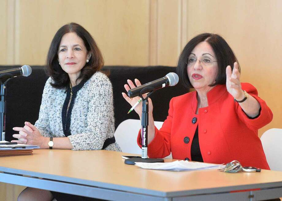 State Rep. Gail Lavielle and State Sen. Toni Boucher answer questions during a Wilton Chamber of Commerce legislative breakfast at Wilton Library.
