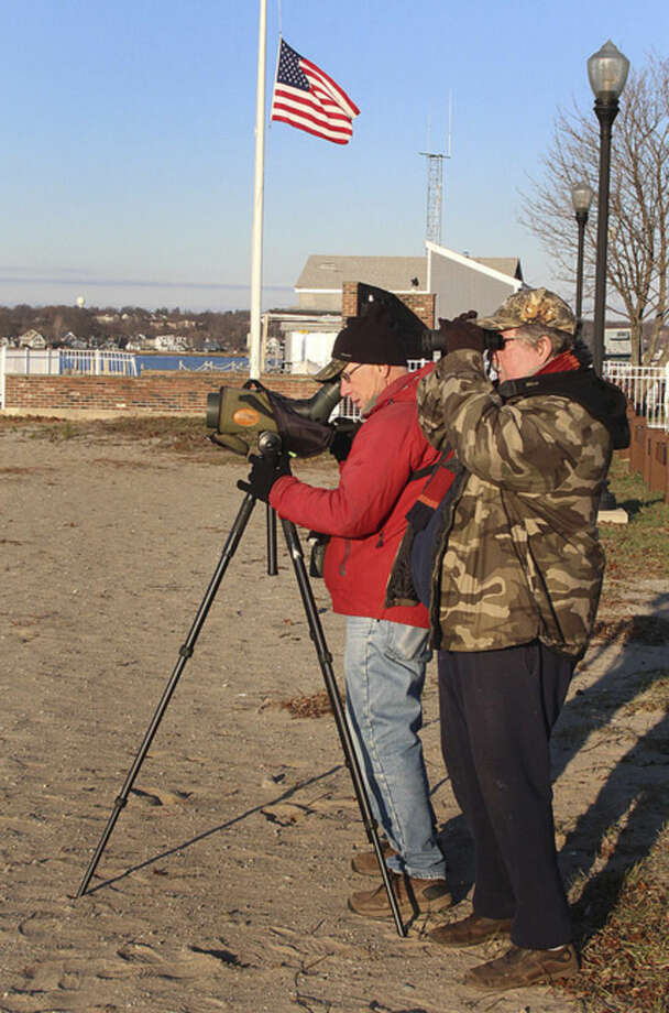 Hour photo/Chris BosakBirdwatchers Frank Mantlik and Larry Flynn scan Long Island Sound for birds from Calf Pasture Beach on Sunday during the annual Christmas Bird Count.