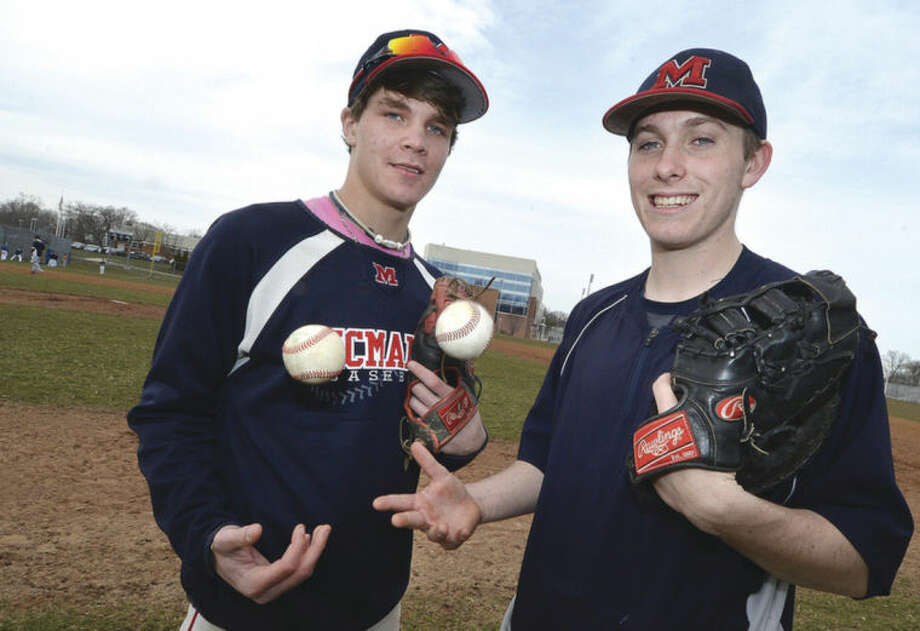 Hour Photo/Alex von Kleydorff McMahon baseball's Alex scallion and Keegan Roberts