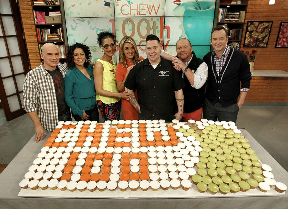"""From left, on television's """"The Chew,"""" are Michael Symon, Evette Rios, Carla Hall, Daphne Oz, comedian RC Smith, Mario Batali and Clinton Kelly. Smith will be the headliner at a comedy show at Marisa's Ristorante in Trumbull on Saturday. Find out more. (Credit: Contributed Photo)"""