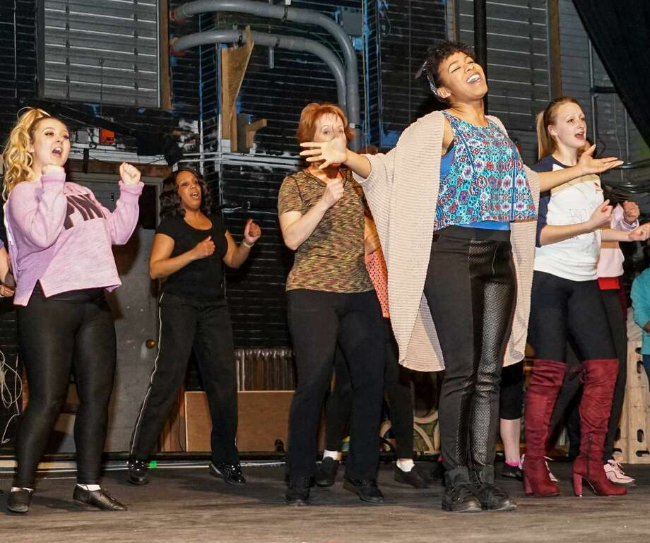 """Actors rehearse a musical number for """"Sister Act,"""" a Landmark Community Theatre productionat the Thomaston Opera House, in Bridgeport, which runs throughSunday.Find out more: http://bit.ly/1Syo7AW(Photo:Meghan Stevens / Contributed Photo)"""