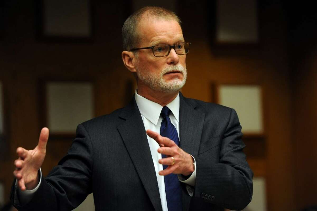 James Voghts, defense attorney for Remington Arms speaks in Superior Court in Bridgeport, Conn. Feb. 22, 2016, where final arguments were heard in a law suit brought by families of some of the Sandy Hook Elementary School shooting victims against the gun manufacturer.(Ned Gerard / Hearst Connecticut Media)